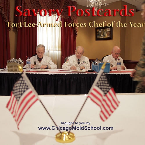 """USACAC Judges, Two American Flags, """"Savory Postcards- Fort Lee Armed Forces Chef of the Year"""