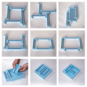 Nine different layouts for arrangement of silicone casting frames